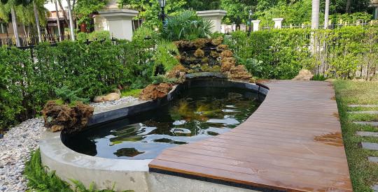 สร้างบ่อปลาและออกแบบวางระบบกรองบ้าน คุณตั๊ม ครับ